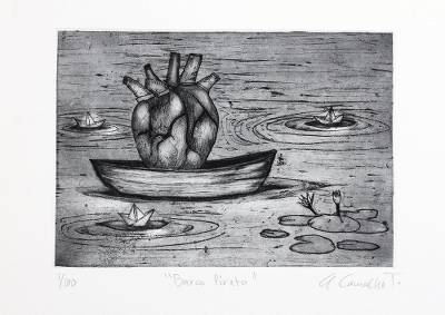 'Pirate Ship' - Signed Surrealist Print of a Heart in a Boat from Mexico