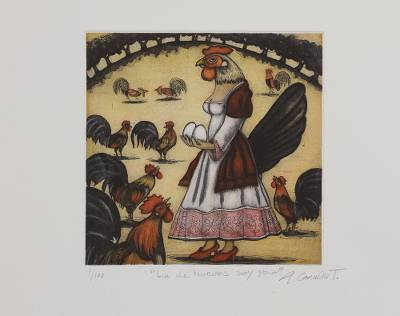 'I Am the One with Eggs' - Signed Surrealist Print of Chickens from Mexico