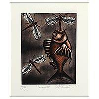 'Fishing II' - Surrealist Print of a Fish and Dragonflies from Mexico