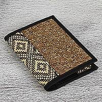 Natural fiber passport wallet, 'Natural Thatch' - Diamond Motif Natural Fiber Passport Wallet from Mexico