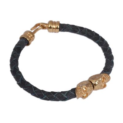 Blue Braided Leather 18k Gold-plated Skull Pendant Bracelet