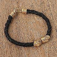 Gold-plated leather braided pendant bracelet,