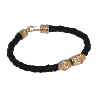 Mexican Black Leather Gold-plated Skull Pendant Bracelet