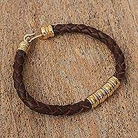 Gold-plated braided leather pendant bracelet, 'Rich Tradition in Brown' - Mexican Hand Braided Gold Plated Brown Leather Bracelet