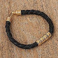 Gold plated braided leather pendant bracelet, 'Rich Tradition in Black' - Mexican Hand Braided Gold Plated Leather Bracelet in Black