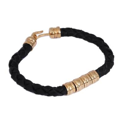 Mexican Hand Braided Gold Plated Leather Bracelet in Black