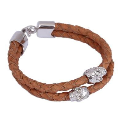 Hand Braided Leather Bracelet with Skull Accents from Mexico