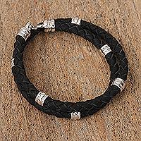 Braided leather wrap bracelet,