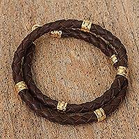 Gold-accented braided leather wrap bracelet, 'Gleaming Embrace in Brown' - Brown Hand Braided Leather Wrap Bracelet from Mexico