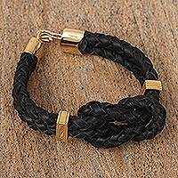Gold-plated braided leather pendant bracelet, 'Nautical Twist' - Gold Plated Leather Braided Pendant Bracelet from Mexico