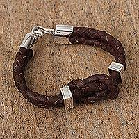 Braided leather pendant bracelet, 'Nautical Loop' (Mexico)