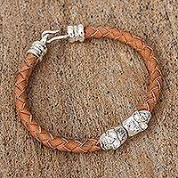 Braided leather pendant bracelet, 'Stylish Death' - Mexican Sterling Silver Skull Hand Braided Leather Bracelet