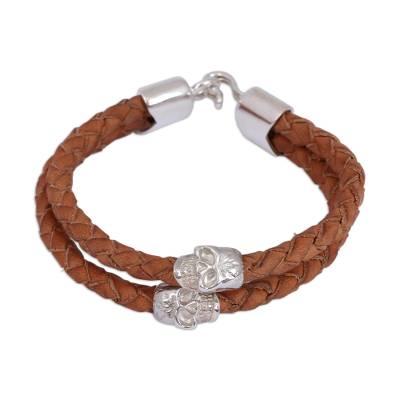 Braided leather pendant bracelet, 'Earth and Life' - Sterling Silver Accented Hand Braided Leather Bracelet