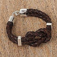 Leather braided pendant bracelet, 'Nautical Knot' (Mexico)