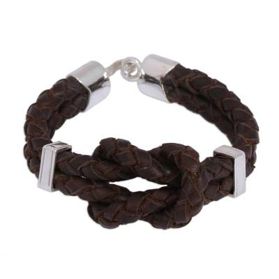 Handcrafted Leather Braided Pendant Bracelet from Mexico