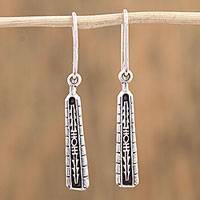 Sterling silver dangle earrings, 'Sacred History' - Handcrafted Sterling Silver Dangle Earrings from Mexico