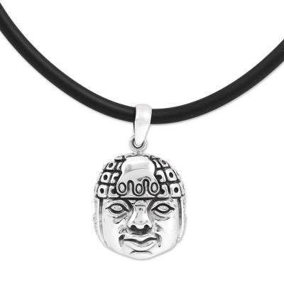 Sterling silver pendant necklace, 'Cultural Identity' - Handcrafted Unisex Sterling Silver Cord Pendant Necklace