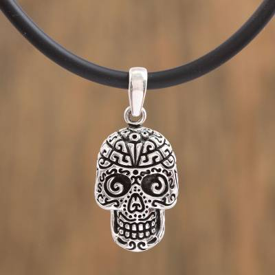 Sterling silver pendant necklace, 'Silver Skull' - Handcrafted Sterling Silver Skull Pendant Necklace