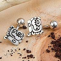 Sterling silver cufflinks, 'Historical Symbols' - Handcrafted Sterling Silver Cufflinks from Mexico