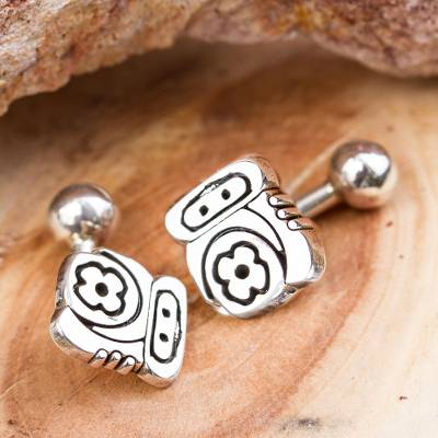 Sterling silver cufflinks, 'Ancient Pride' - Handcrafted Sterling Silver Cufflinks from Mexico