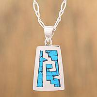 Sterling silver pendant necklace, 'Sky Blue Pyramid' - Pre-Hispanic Sterling Silver Pendant Necklace from Mexico