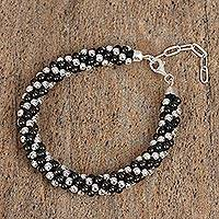 Sterling silver beaded bracelet, 'Dark Dots' - Dark Sterling Silver Beaded Bracelet from Mexico