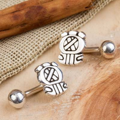 Sterling silver cufflinks, 'Pre-Hispanic Glyphs' - Pre-Hispanic Sterling Silver Cufflinks from Mexico