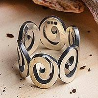 Men's sterling silver band ring, 'Striking Spirals' - Men's Spiral Motif Sterling Silver Band Ring from Mexico