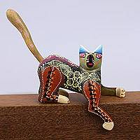 Wood alebrije figurine, 'Psychedelic Feline' - Artisan Crafted Copal Wood Alebrije Cat Figurine from Mexico