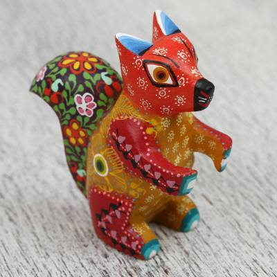 Wood alebrije figurine, 'Charming Squirrel' - Hand-Painted Wood Alebrije Squirrel Figurine from Mexico