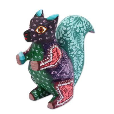 Colorful Wood Alebrije Squirrel Sculpture Made in Mexico