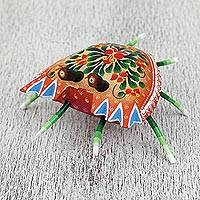 Wood alebrije sculpture, 'Vibrant Crab' - Floral Wood Alebrije Sculpture of a Crab from Mexico