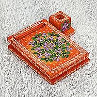 Wood message center, 'Mandarin Dreams' - Floral Wood Message Center in Orange from Mexico