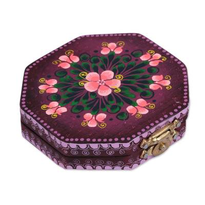 Floral Wood Mirror Compact in Purple from Mexico