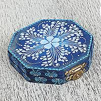 Wood mirror compact, 'Sky Blue Flowers' - Floral Wood Mirror Compact in Blue from Mexico