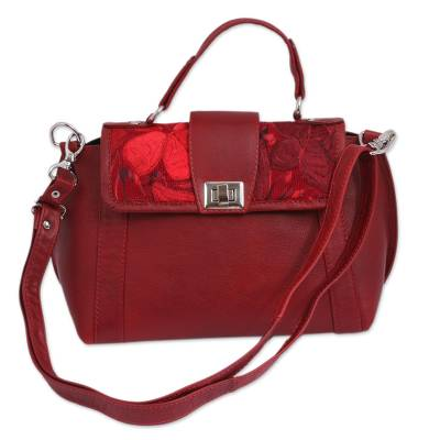 Floral Cotton Accent Leather Sling in Crimson from Mexico