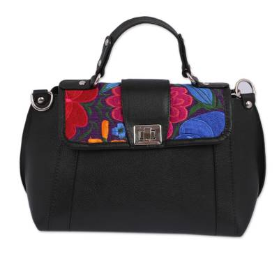 Floral Cotton Accent Leather Sling Handbag from Mexico