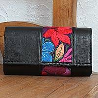 Cotton accent leather baguette, 'Floral Passion' - Floral Cotton Accent Leather Baguette from Mexico