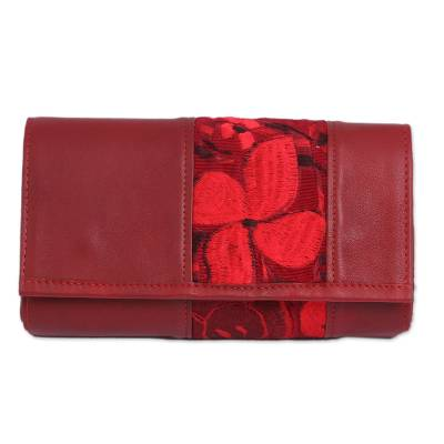Floral Cotton Accent Leather Baguette in Crimson from Mexico