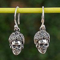 Sterling silver dangle earrings, 'Elegant Catrina' - Catrina Skull Sterling Silver Dangle Earrings from Mexico