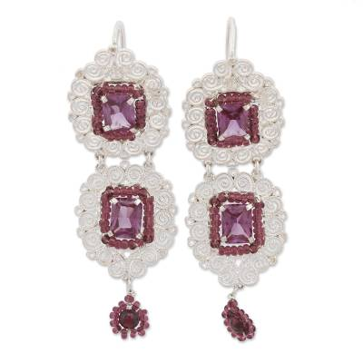 Garnet and Crystal Dangle Earrings from Mexico