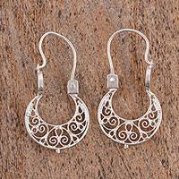 Sterling silver filigree hoop earrings, 'Little Baskets' - Handcrafted Sterling Silver Filigree Earrings from Mexico