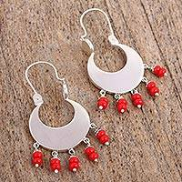 Glass beaded dangle earrings, 'Red Crescent Moons' (Mexico)