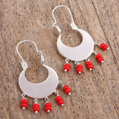 Glass beaded dangle earrings, 'Red Crescent Moons' - Red Glass Beaded Sterling Silver Dangle Earrings from Mexico
