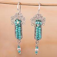 Glass beaded filigree dangle earrings, 'Little Inchworms' - Green Glass Beaded Dangle Earrings from Mexico