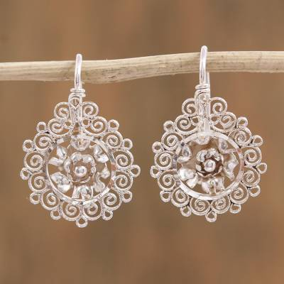Sterling silver filigree drop earrings, 'Floral Darlings' - Floral Sterling Silver Filigree Drop Earrings from Mexico