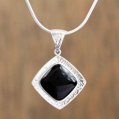 Obsidian pendant necklace, 'Black Reflection' - Square Obsidian Pendant Necklace from Mexico