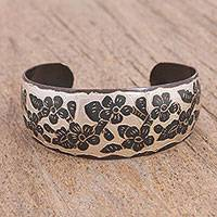 Copper cuff bracelet, 'Lunar Flowers' - Hand-Painted Black Floral Copper Cuff Bracelet from Mexico