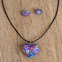 Wood jewelry set, 'Blooming Love' - Copal Wood Hand Carved Painted Blue Heart Jewelry Set