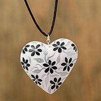 Wood pendant necklace, 'Sophisticated Heart' - Black and White Heart Shaped Wood Pendant Necklace